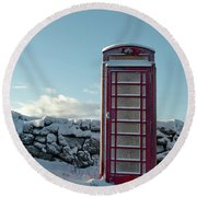 Red Telephone Box In The Snow IIi Round Beach Towel
