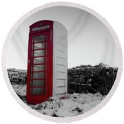 Red Telephone Box In The Snow Vi Round Beach Towel