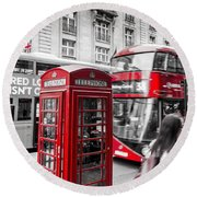 Red Telephone Box With Red Bus In London Round Beach Towel