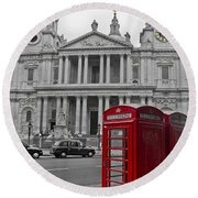 Red Telephone Boxes In London Round Beach Towel by Gary Eason