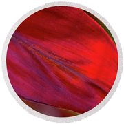 Red Ti Leaves 01 Round Beach Towel