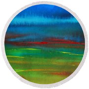 Round Beach Towel featuring the painting Red Tide Abstract by Jani Freimann