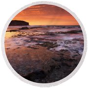 Red Tides Round Beach Towel by Mike  Dawson