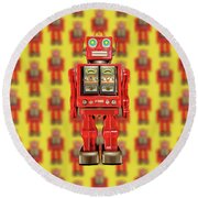 Round Beach Towel featuring the photograph Red Tin Toy Robot Pattern by YoPedro
