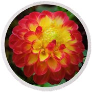 Red Tipped Petals Round Beach Towel