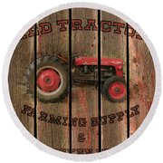 Red Tractor Farming Supply Round Beach Towel