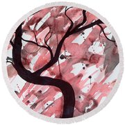 Red Tree Enchantment Round Beach Towel