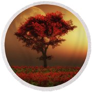 Red Tree In The Evening Round Beach Towel