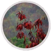 Red Tree In The Rain Round Beach Towel