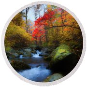 Red Tree In White Oak Canyon Round Beach Towel