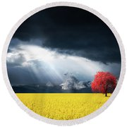 Red Tree On Canola Meadow Round Beach Towel