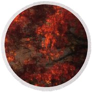 Red Tree Scene Round Beach Towel