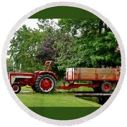 Red Truck Round Beach Towel