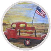 Red Truck Round Beach Towel by Debbie Baker