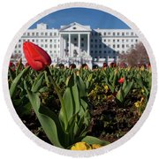 Red Tulip At The Greenbrier Round Beach Towel by Laurinda Bowling