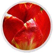 Red Tulip Round Beach Towel