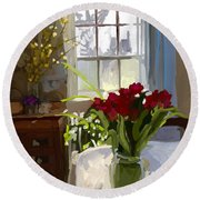 Red Tulips And Forsythia In East Gloucester, Ma Dining Room Round Beach Towel