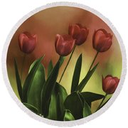 Round Beach Towel featuring the photograph Red Tulips by Diane Schuster
