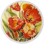 Red Tulips In My Garden Round Beach Towel