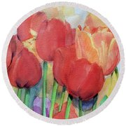 Watercolor Of Blooming Red Tulips In Spring Round Beach Towel