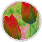 Red Tulips Pop Art Round Beach Towel by Dora Sofia Caputo Photographic Art and Design