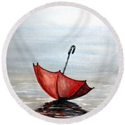 Round Beach Towel featuring the painting Red Umbrella by Edwin Alverio