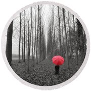 Red Umbrella In An Allee Round Beach Towel