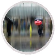 Round Beach Towel featuring the photograph Red Umbrella by LemonArt Photography
