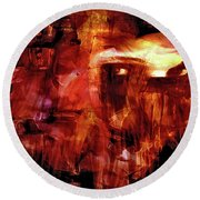 Round Beach Towel featuring the photograph Red Veil by Linda Sannuti