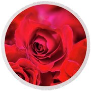 Red Velvet Round Beach Towel by Charuhas Images