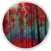 Round Beach Towel featuring the painting Red Velvet by Hailey E Herrera