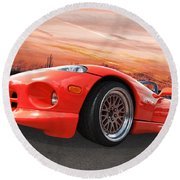 Red Viper Rt10 Round Beach Towel by Gill Billington