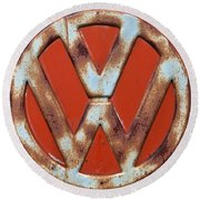 Round Beach Towel featuring the photograph Red Vw Bus Emblem by Jani Freimann