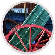 Red Wagon Wheel Round Beach Towel