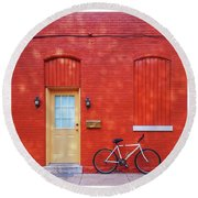 Red Wall White Bike Round Beach Towel by Edward Fielding