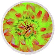 Red Whirl Round Beach Towel
