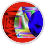 Red White And Blue 3 Round Beach Towel