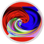 Red White And Blue 4 Round Beach Towel