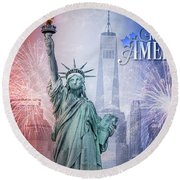 Red, White And Blue Round Beach Towel