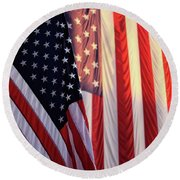 Round Beach Towel featuring the photograph Red White And Blue by John S