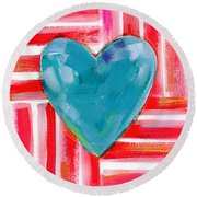 Red White And Blue Love- Art By Linda Woods Round Beach Towel