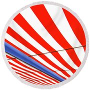 Round Beach Towel featuring the photograph Red White And Blue by Paul Wear