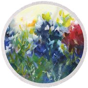 Red White And Bluebonnets Watercolor Painting By Kmcelwaine Round Beach Towel