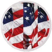Red White Blue - American Stars And Stripes Collage Round Beach Towel
