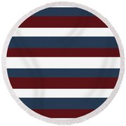 Red White Blue Stripes Round Beach Towel