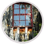 Round Beach Towel featuring the photograph The Red Window by Sandi OReilly