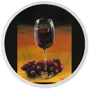 Red Wine And Red Grapes Round Beach Towel