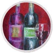 Red Wine Art Round Beach Towel