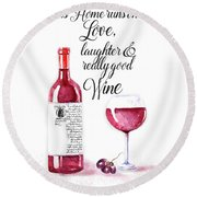 Round Beach Towel featuring the digital art Red Wine by Colleen Taylor