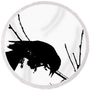 Red Wing Black Bird Silhouette Round Beach Towel